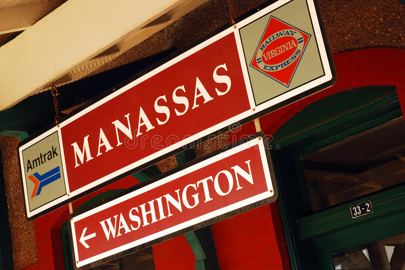 Manassas Train station. Manassas Train Stop, offering public transportation to Washington DC stock photos