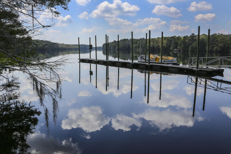 Manatee Srpings Dock - Suwannee River stock photos