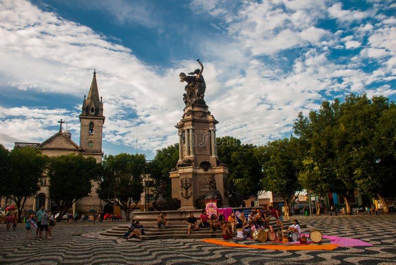 Manaus, Amazonas, Brésil : Église de St SebastiAn DOS Portos du monument a Abertura comme Nacoes Amigas photographie stock