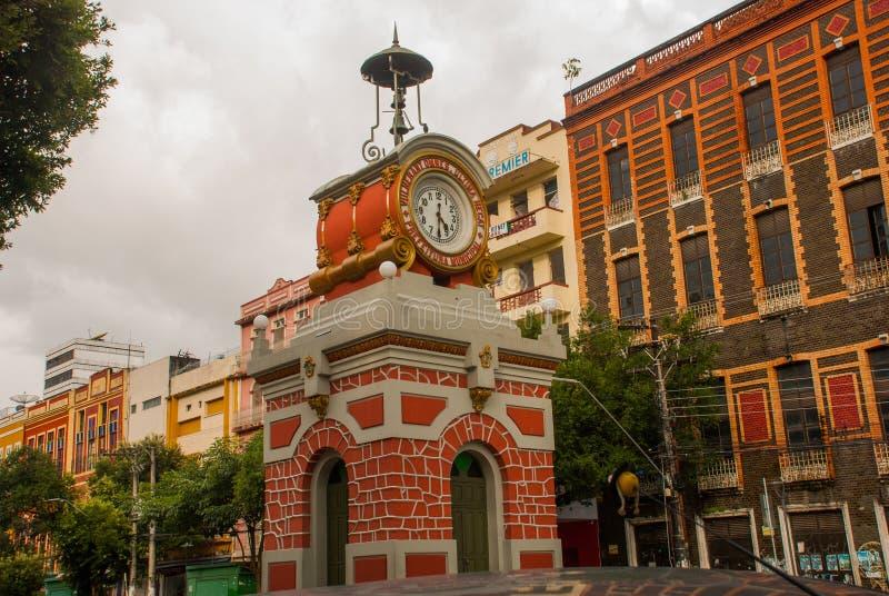 Manaus, Amazonas, el Brasil: El gio de Rel del reloj de la ciudad municipal en Manaus fue importado de Suiza y terminado en 1927 fotos de archivo