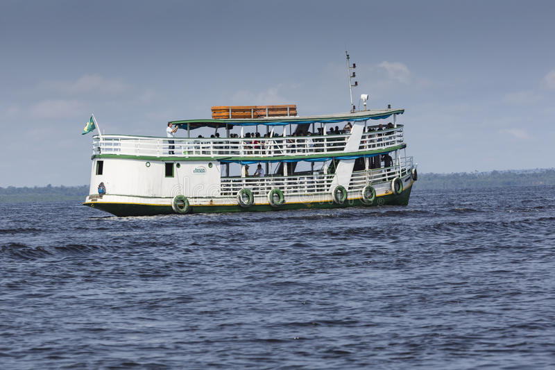 MANAUS, BRAZIL, OCTOBER 17: Typical wooden boats sailing royalty free stock images
