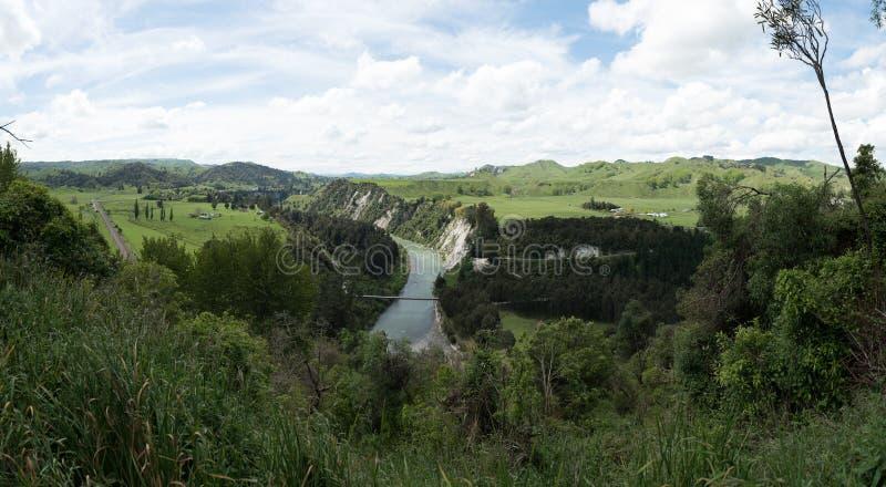 Manawatu rzeczny spływanie przez lesistego krajobrazu w Nowa Zelandia zdjęcia stock