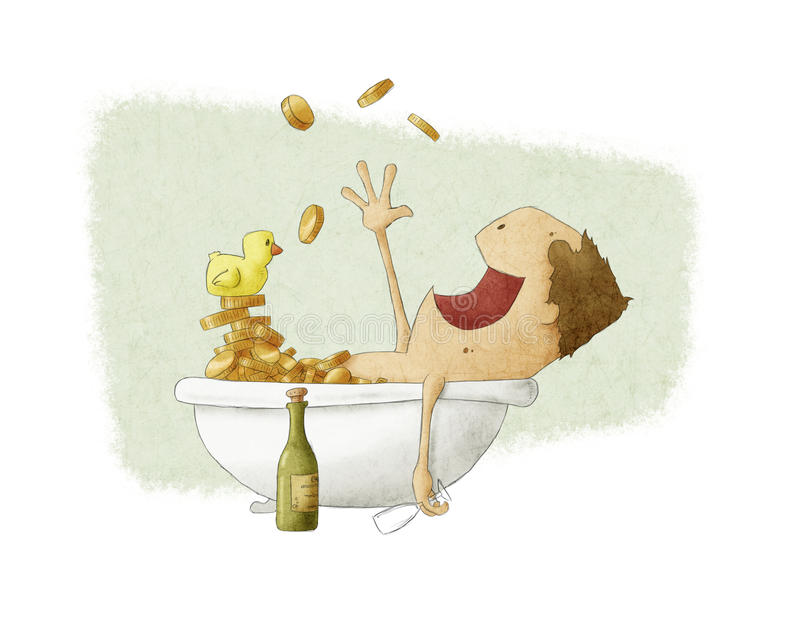 Manbadning i pengar vektor illustrationer