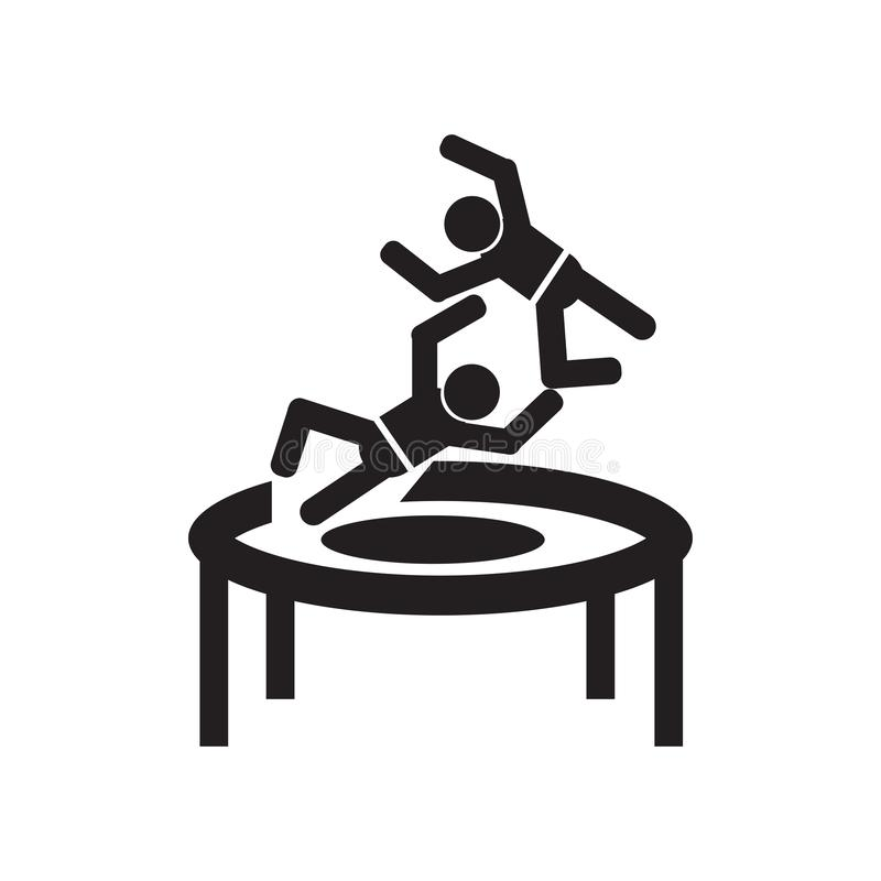 Manbanhoppning från ett tecken och ett symbol för trampolinsymbolsvektor som isoleras på vit bakgrund, manbanhoppning från ett tr royaltyfri illustrationer