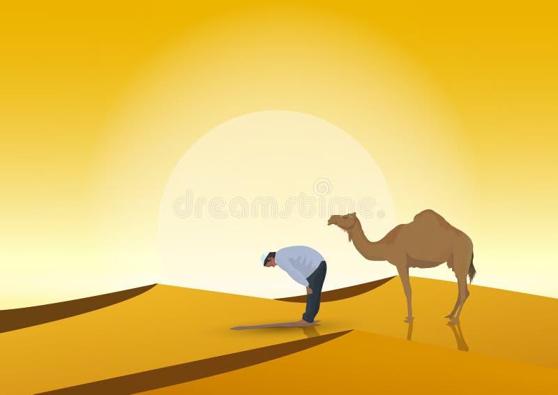 Manbe och kamel med solnedgångbakgrund royaltyfri illustrationer