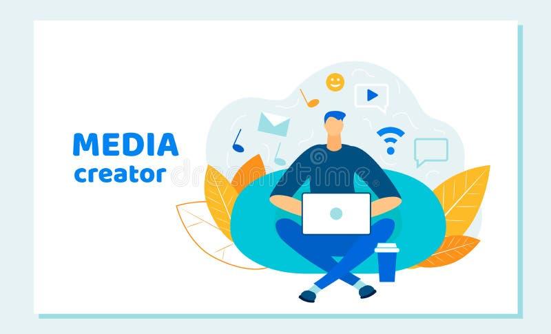 ManBlogger, arbetande bärbar dator för social massmediaskapare royaltyfri illustrationer