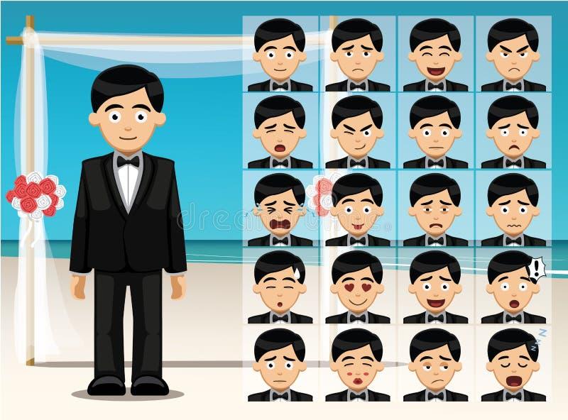 Manbrudgummen Cartoon Emotion vänder mot vektorillustrationen vektor illustrationer