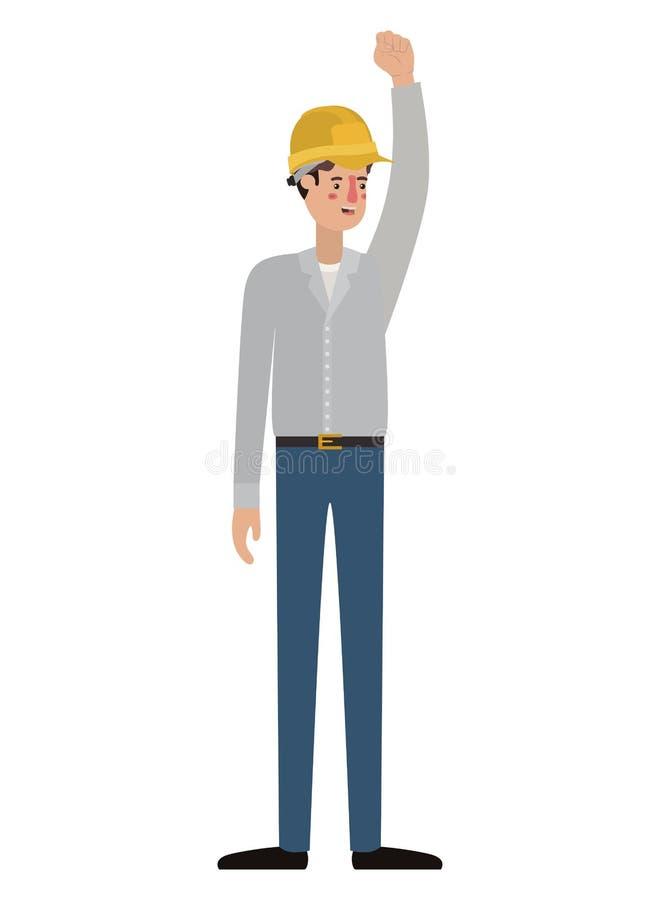 Manbyggmästare med handen upp avatartecken stock illustrationer