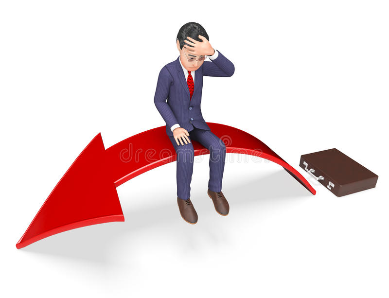 Mancanza di manifestazioni di venire a mancare di disperazione di successo e di rappresentazione della freccia 3d illustrazione di stock