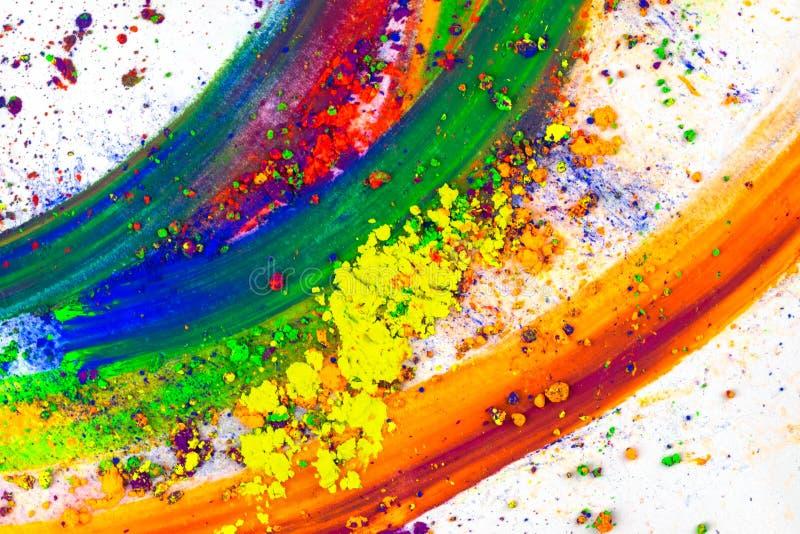 Mancha abstracta con el finger hecho del pigmento multicolor, aislado en blanco Sombra de ojos brillante mezclada fotografía de archivo libre de regalías