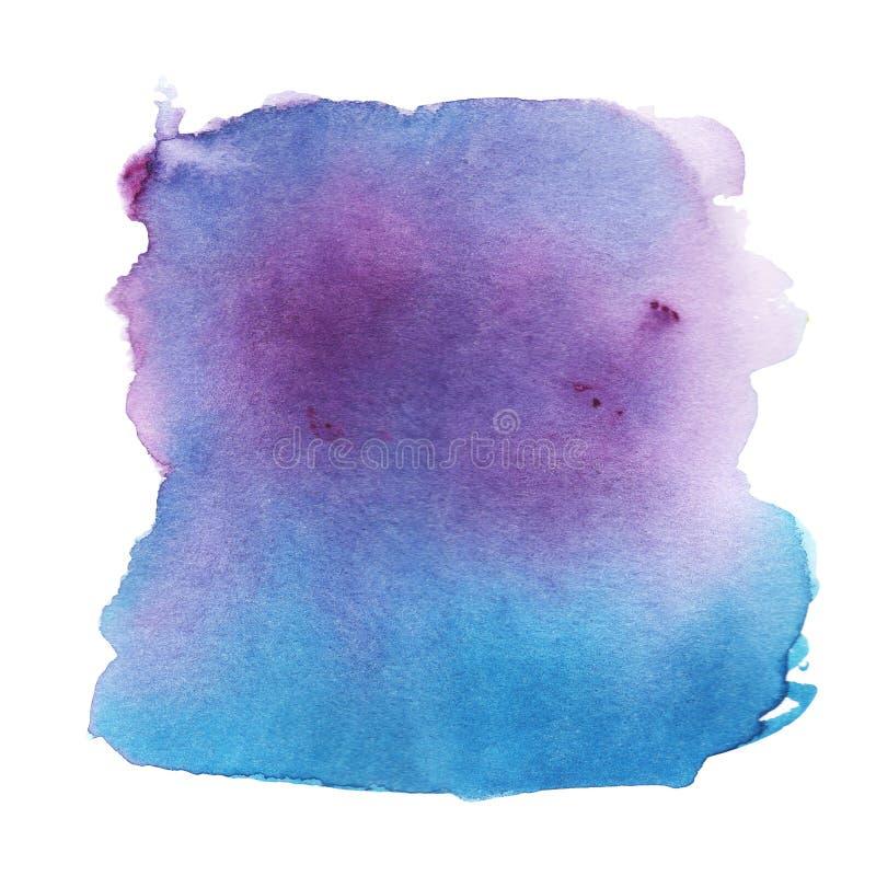 Mancha abstracta de la púrpura al fondo azul de la acuarela ilustración del vector