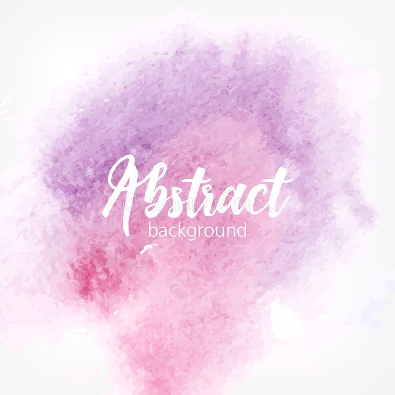 Mancha abstrata da aquarela Cores pastel roxas e cor-de-rosa Fundo realístico criativo com lugar para o texto ilustração do vetor