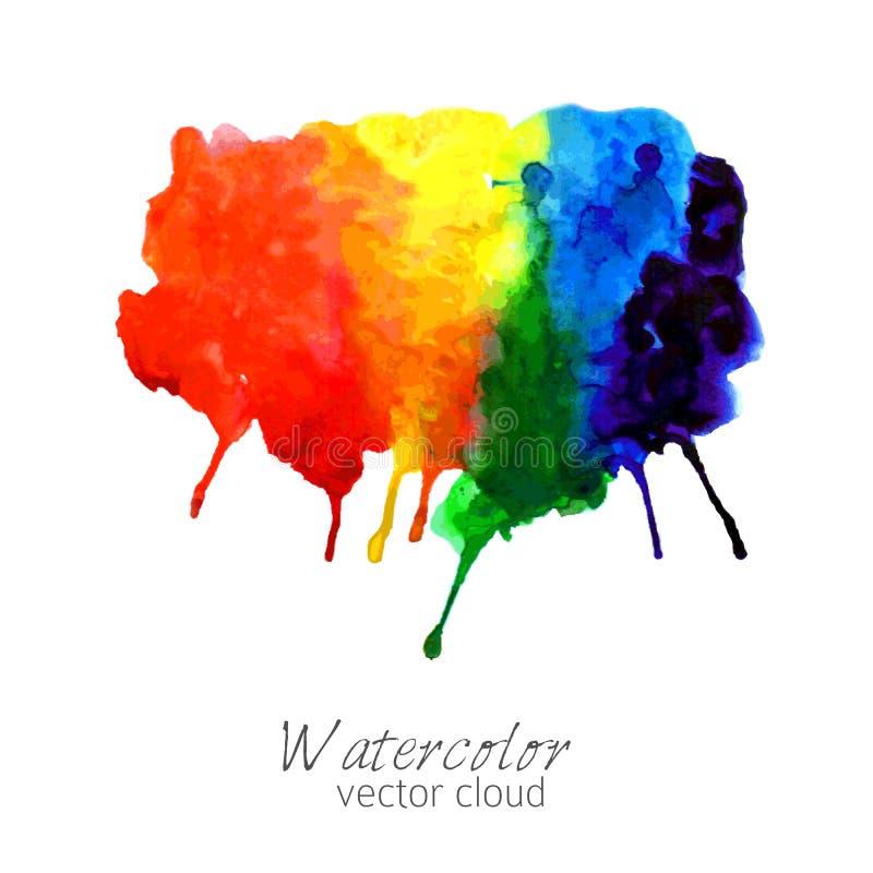 Mancha abstrata do inclinação do arco-íris da aquarela ilustração do vetor