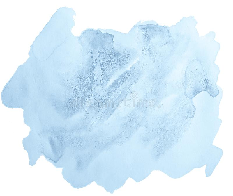 Mancha aislada a mano del lavado de la acuarela en colores pastel azul stock de ilustración