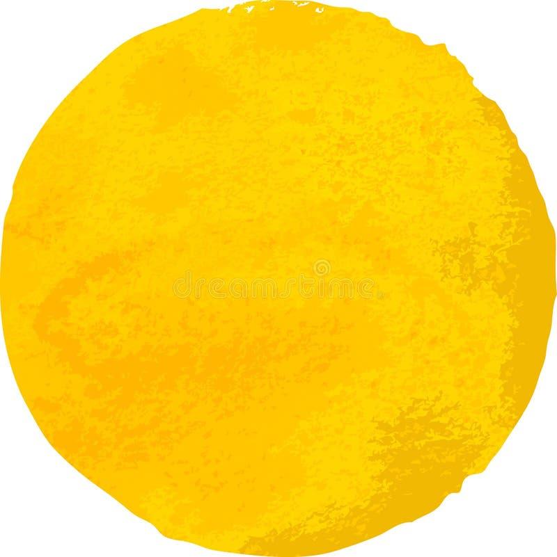 Mancha amarela da aquarela isolada no fundo branco ilustração stock
