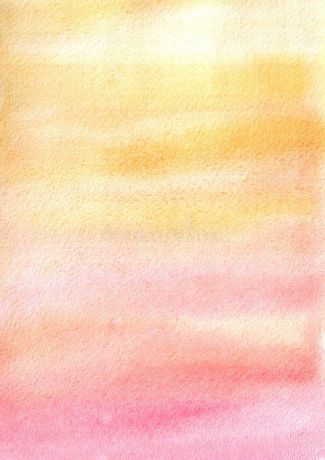 mancha amarelo-cor-de-rosa da aquarela, fundo, gota, textura ilustração stock