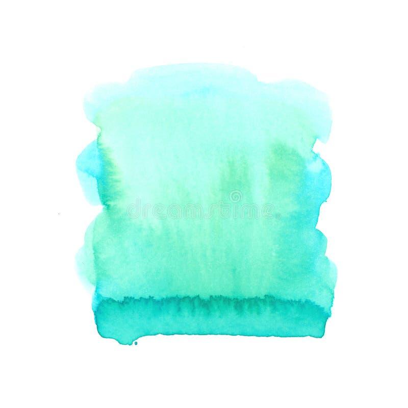 Mancha azul de la acuarela aislada en el fondo blanco imagen de archivo