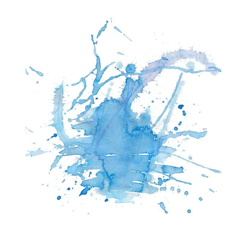 Mancha azul do respingo da aquarela da cor mão abstrata fundo tirado da mancha da aquarela Fundo criativo moderno da aquarela par ilustração royalty free