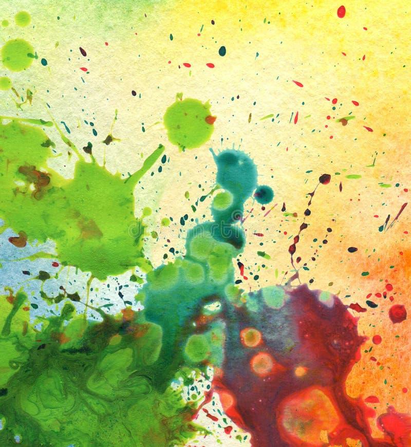 Mancha blanca /negra abstracta de la pintura de la acuarela stock de ilustración