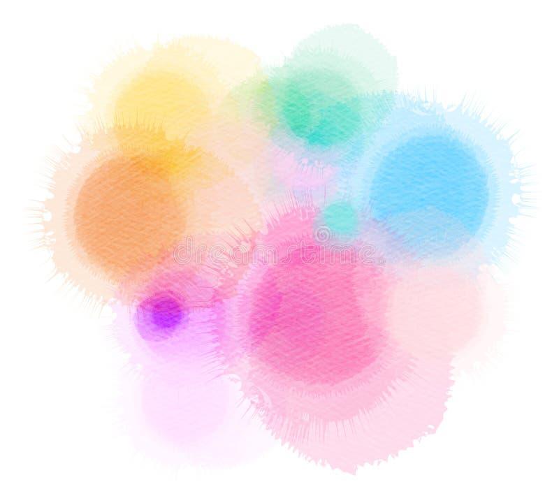 Mancha blanca /negra aislada acuarela colorida en el fondo blanco stock de ilustración