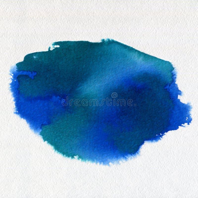 Mancha blanca /negra azul exhausta de la pintura del arte de la acuarela de la mano abstracta de la acuarela en el fondo blanco fotografía de archivo