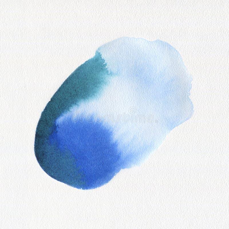 Mancha blanca /negra azul exhausta de la pintura del arte de la acuarela de la mano abstracta de la acuarela en el fondo blanco fotos de archivo