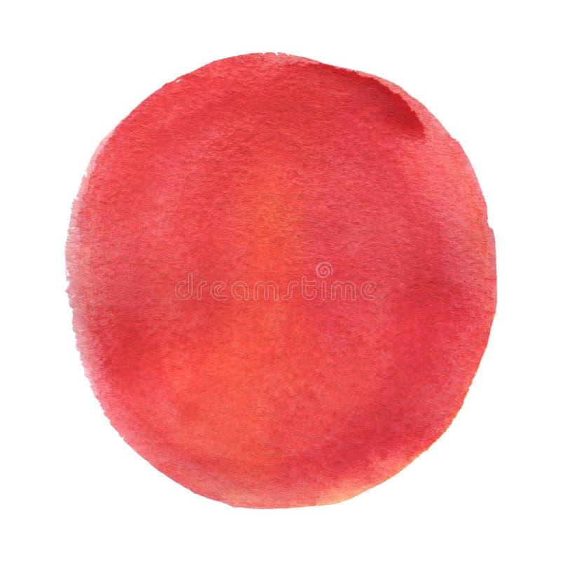 Mancha blanca /negra brillante de la acuarela Fondo rojo del círculo Textura abstracta aislada en blanco Decoración imprimible imagenes de archivo