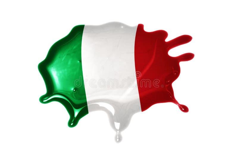 Mancha blanca /negra con la bandera nacional de Italia fotos de archivo
