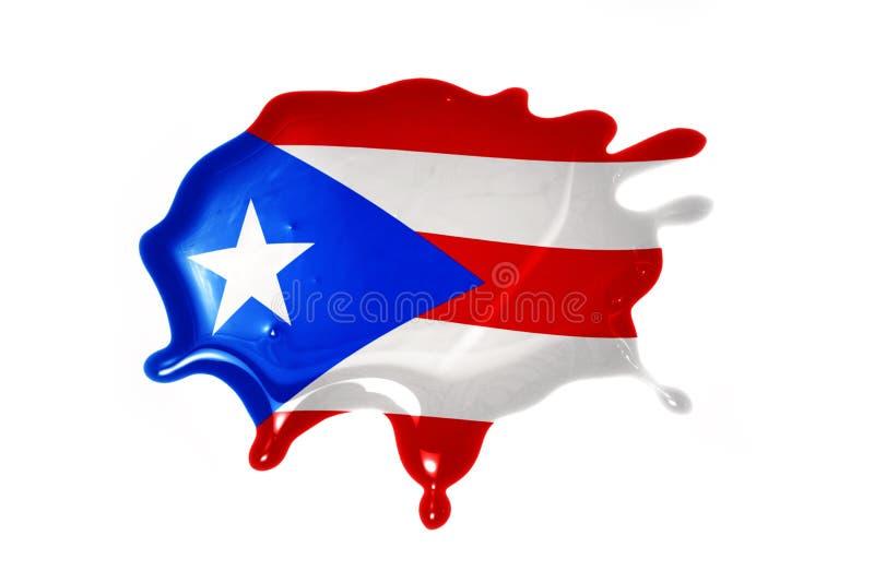 Mancha blanca /negra con la bandera nacional de Puerto Rico imagen de archivo
