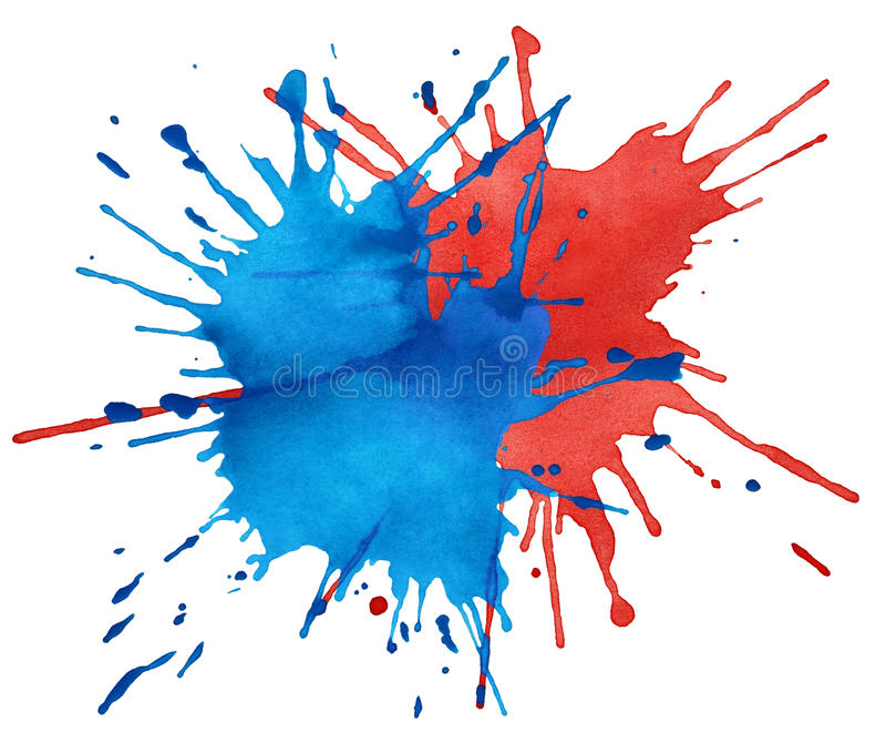 Mancha blanca /negra de la acuarela azul y roja ilustración del vector
