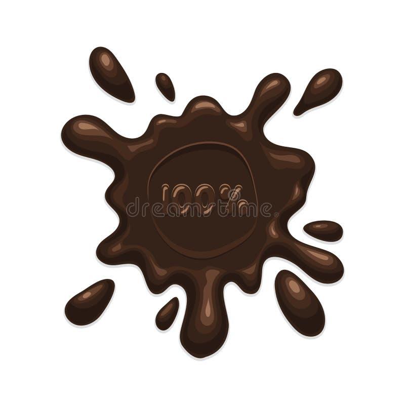 Mancha blanca /negra del chapoteo del chocolate stock de ilustración