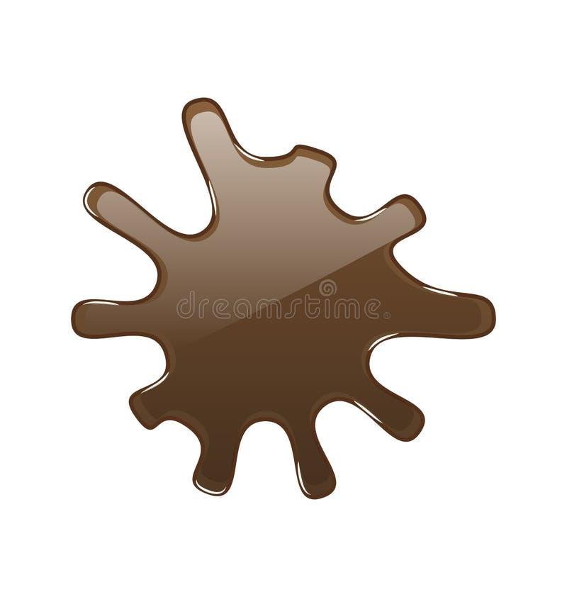 Mancha blanca /negra del chocolate caliente, aislada en el fondo blanco stock de ilustración