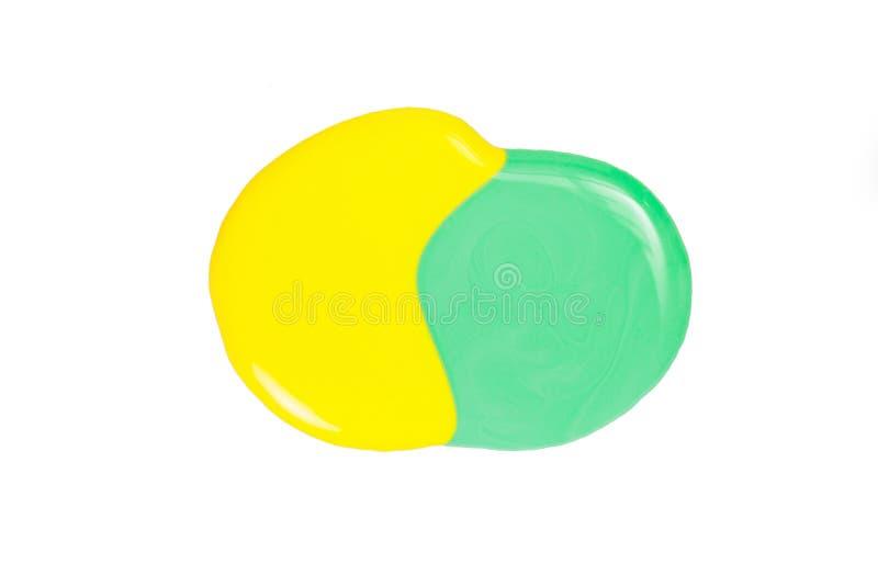 Mancha Blanca /negra Del Esmalte De Uñas Amarillo Y Verde Aislado En ...