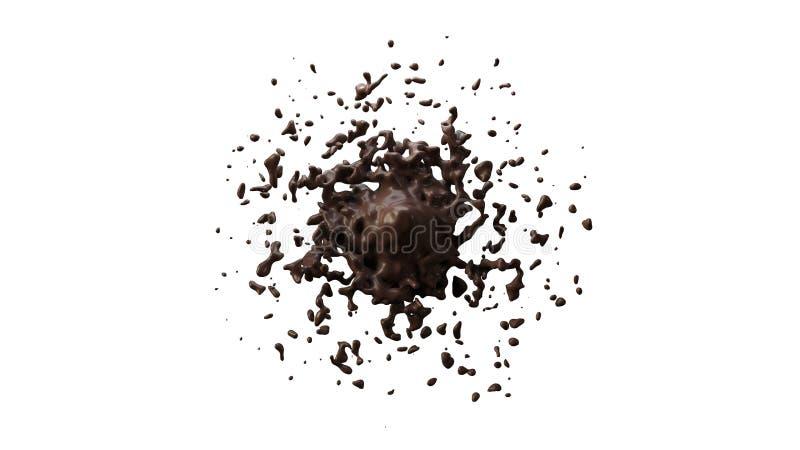 Mancha blanca /negra líquida del chocolate que salpica en piso | Fondo blanco libre illustration