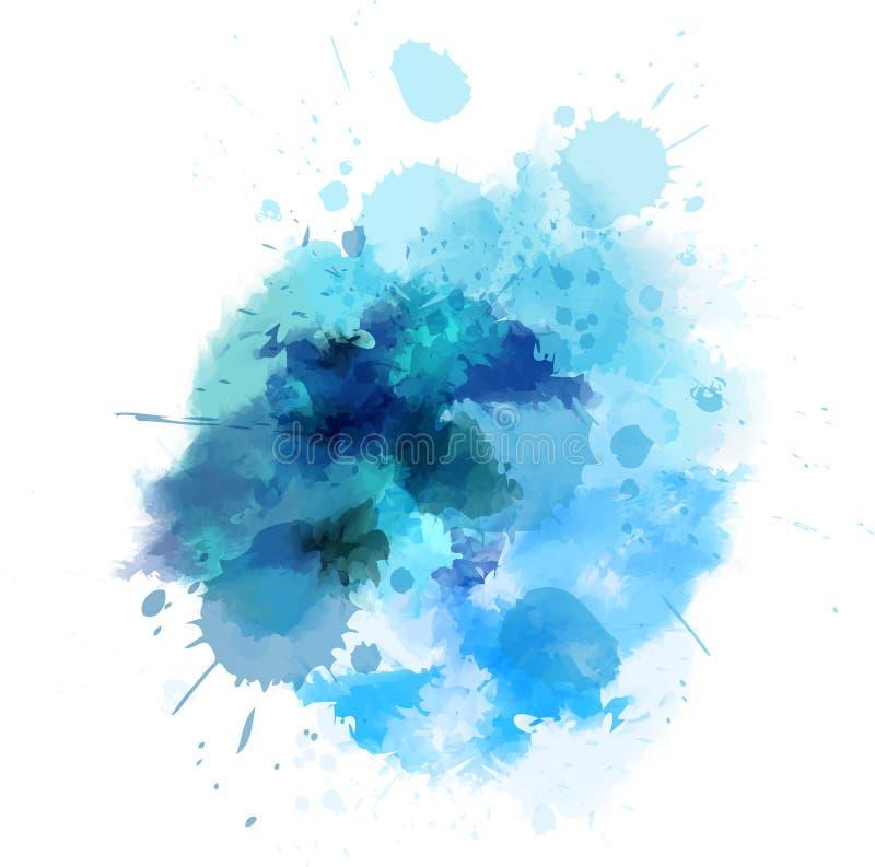 Mancha blanca /negra watercolored azul stock de ilustración