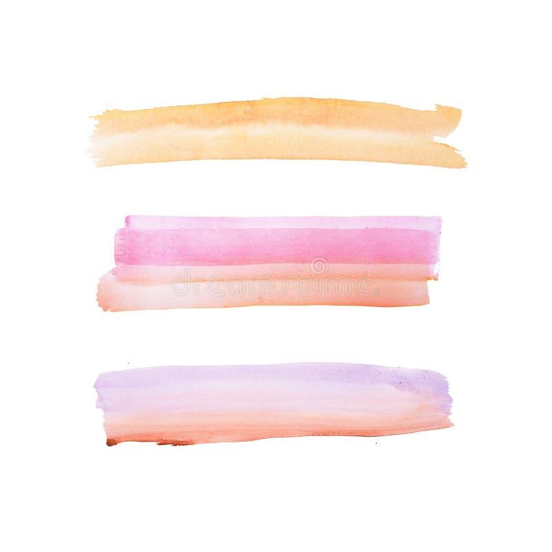 Mancha colorida dibujada mano abstracta de la salpicadura de la pintura del arte de las formas de la acuarela de la acuarela en e fotos de archivo libres de regalías