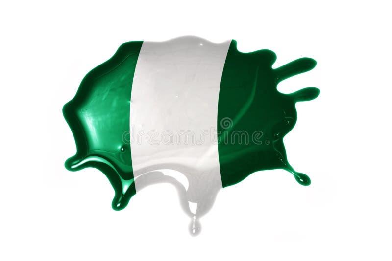 Mancha com a bandeira nacional de Nigéria foto de stock