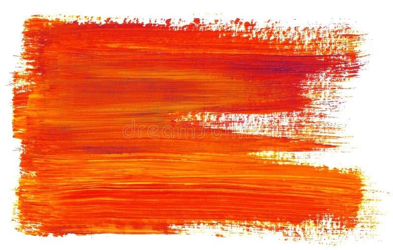 Mancha com a laranja vermelha da pintura acrílica e da escova de cerda para lambuzar o garrancho ilustração do vetor