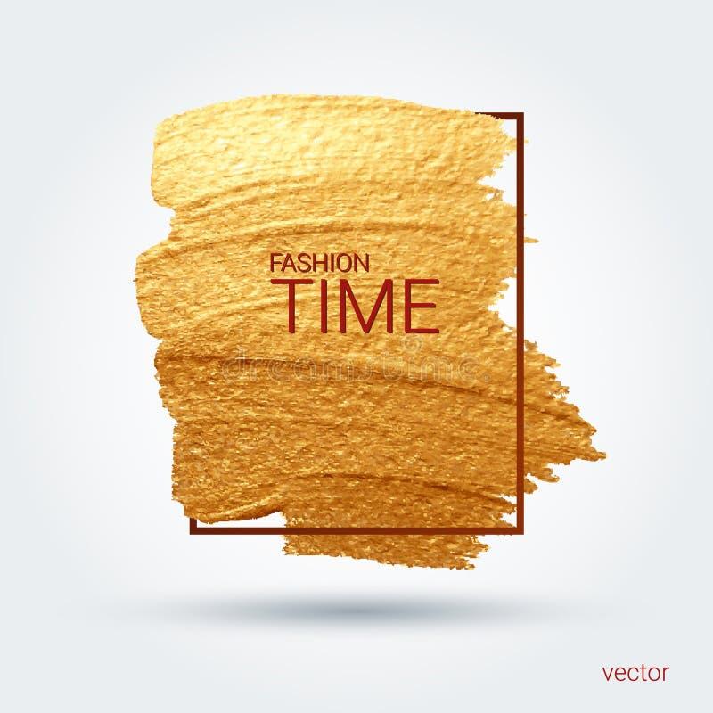 Mancha com uma escova artística Textura do grunge do ouro em um quadro Um teste padrão festivo brilhante ilustração royalty free