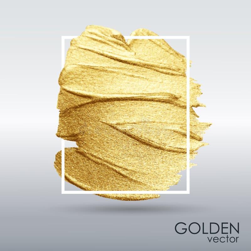 Mancha com uma escova art?stica Textura do grunge do ouro em um quadro Um teste padr?o festivo brilhante ilustração do vetor