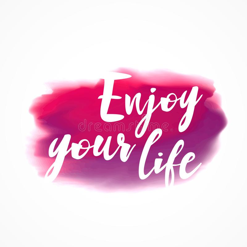 A mancha cor-de-rosa da tinta da aquarela com aprecia sua mensagem da vida ilustração royalty free