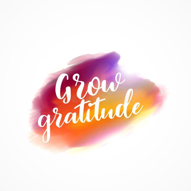 A mancha da aquarela com cresce a mensagem da gratitude ilustração stock