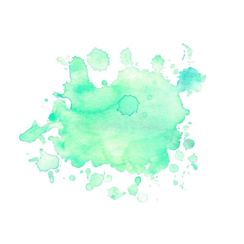 A mancha da aquarela do verde com espirra ilustração do vetor