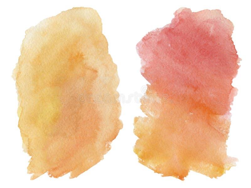 Mancha da aquarela isolada no fundo branco Inclina??o vermelho e alaranjado fotos de stock royalty free