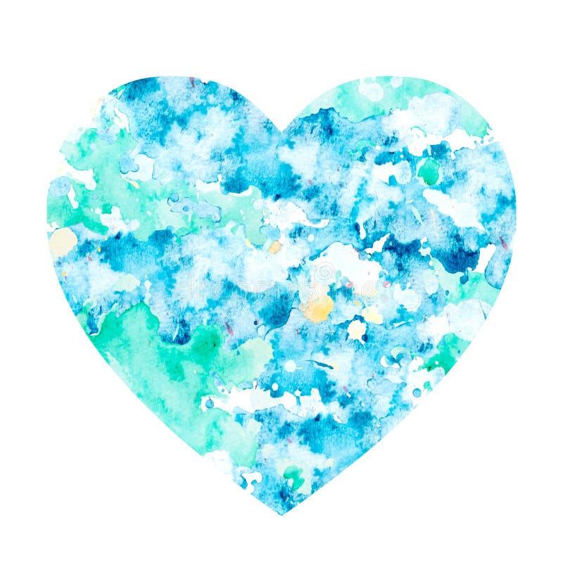 Mancha da aquarela na forma de um coração ilustração stock