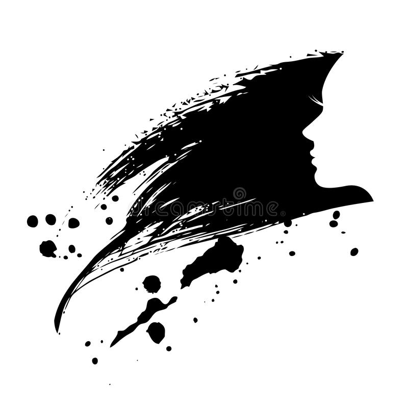 Mancha da mulher da cara do Grunge ilustração royalty free