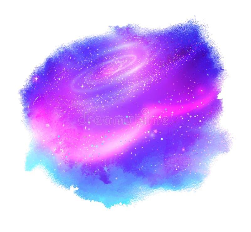 Mancha de la acuarela con el espacio exterior que brilla intensamente ilustración del vector