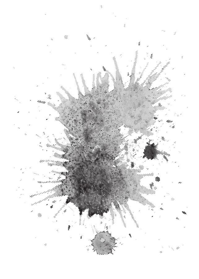 Mancha de la acuarela en el estilo del grabado La acuarela salpica stock de ilustración