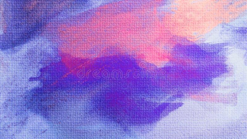Mancha de las pinturas acrílicas Fondo pintado a mano abstracto creativo Movimientos de pintura de acrílico en lona Arte moderno stock de ilustración