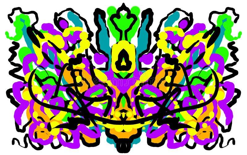 Mancha de tinta de pintura simétrica abstracta de la prueba de Rorschach stock de ilustración